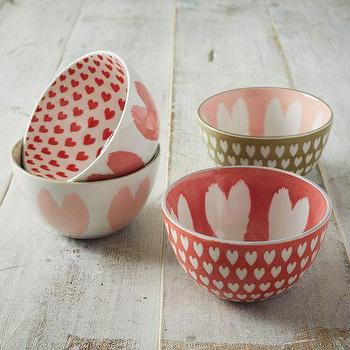 Decor/Accessories - Pad Printed Bowls - Heart | west elm - pink heart print bowl, pink and white heart patterned bowl. pink and white heart print bowl,