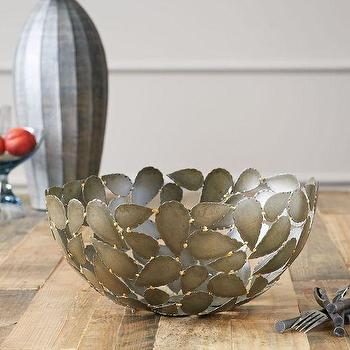 Decor/Accessories - Metal Leaf Decorative Bowl | west elm - metal leaf bowl, decorative metal leaf bowl, metal leafed centerpiece bowl,