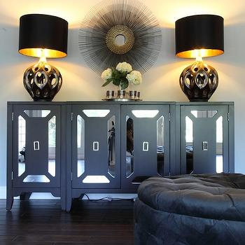 Black Mirrored Cabinet, Hollywood Regency, living room, Turquoise LA