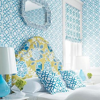 Thibaut - bedrooms - blue and white wallpaper, blue and white geometric wallpaper, blue and white lattice wallpaper, blue and white trellis wallpaper, blue and white geometric window shade, blue and white trellis window shade, blue and white lattice window shade, octagonal blue mirror, mirror over headboard, green blue and white floral headboard, green blue and white modern floral headboard, green blue and white flowered headboard, green blue and white headboard, white bedding, white bed linens, white sheets, blue and white geometric pillows, blue and white lattice pillows, blue and white trellis pillows, white nightstand, white bedside table, matching nightstand, modern blue lamp, blue glass lamp, teardrop shaped blue lamp, turquoise wallpaper, turquoise blue wallpaper, turquoise trellis wallpaper, turquoise lamps, turquoise glass lamps, patterned headboard,