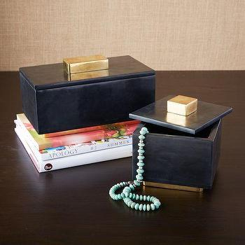 Decor/Accessories - Pedestal Stone Boxes | west elm - soapstone jewelry box, black and brass jewelry box, soapstone jewelry box with brass knob,