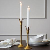 Decor/Accessories - Lily Candleholders | west elm - antique brass candleholder, mid-century style brass candleholder, mid-century style antique brass candleholder,