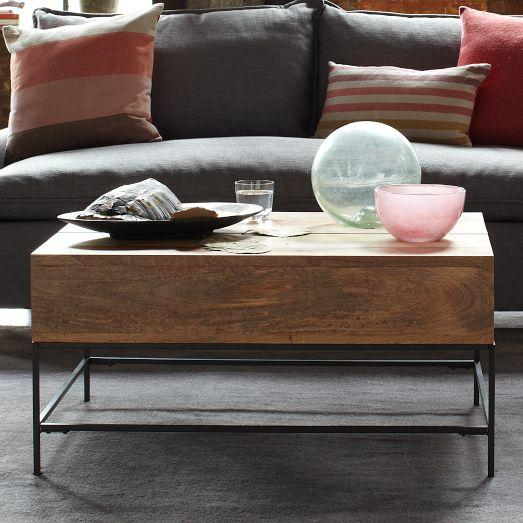 Rustic Storage Coffee Table Raw Mango West Elm