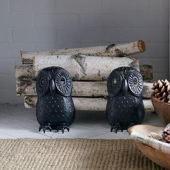 Decor/Accessories - Owl Fireplace Andirons | west elm - ow fireplace andirons, cast iron owl fireplace andirons, owl shaped fireplace andirons,