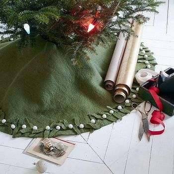 Miscellaneous - Felt Mistletoe Tree Skirt | west elm - green felt tree skirt, mistletoe tree skirt, green mistletoe christmas tree skirt,