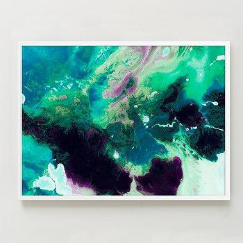 Art/Wall Decor - Framed Print - Magnetic I | west elm - purple and green abstract art, teal green and purple abstract art, teal green and purple framed art,