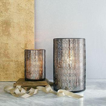 Decor/Accessories - Trellis Mercury Hurricanes | west elm - mercury glass hurricane, mercury glass trellis hurricane, mercury glass candle lantern,