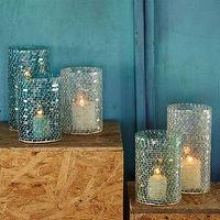 Decor/Accessories - Mosaic Glass Candleholders | west elm - mosiac glass candleholder, blue mosaic glass candleholder, clear mosaic glass candleholder,