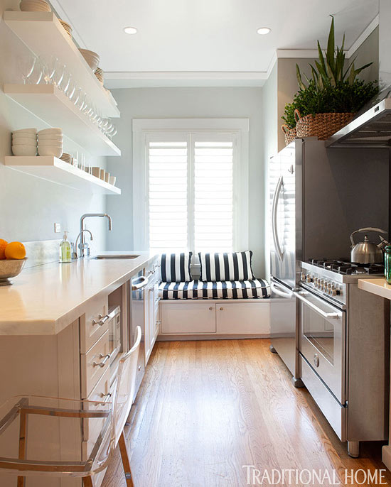 Kraftmaid cabinets contemporary kitchen benjamin for Kitchen counter designs for small kitchen