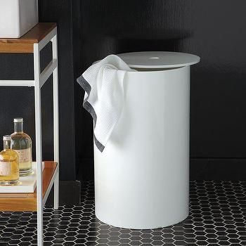 Bath - Lacquer Bath Hamper | west elm - white lacquer bath hamper, white lacquer laundry hamper, white lacquered laundry hamper, modern white laundry hamper,