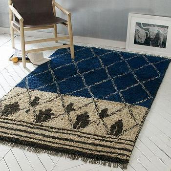 Rugs - Nural Wool Rug | west elm - blue moroccan rug, blue and beige moroccan style rug, blue beige and brown moroccan style rug,