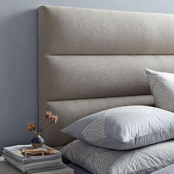 Beds/Headboards - Panel-Tufted Headboard | west elm - gray headboard, gray panel tufted headboard, panel tufted headboard, modern gray headboard contemporary gray headboard,
