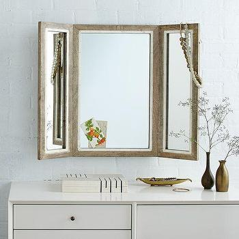 Mirrors - Trifold Mirror | west elm - trifold mirror, bone inlaid trifold mirror, bone inlay trifold mirror,