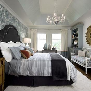 Candice Olson - bedrooms - charcoal gray headboard, charcoal gray velvet headboard, charcoal gray velvet headboard with nailhead trim, hardwood floors, white rug, geometric white rug, blue-gray bedding, blue-gray striped bedding, charcoal gray coverlet, dark hardwood floors, tray ceiling, glazed tray ceiling, glass chandelier, white euro shams, gray-blue pillow, charcoal gray bed skirt, charcoal gray pleated bed skirt, white table lamp, modern white table lamp, wooden nightstand, traditional style nightstand, built-in bookcase, gray-blue built-ins, gray-blue built-in bookcase, bedroom bookcase, bedroom built-ins, sunburst mirror, gold sunburst mirror, gilt sunburst mirror, banded drapes, ivory and gray-blue banded drapes, ivory and gray-blue banded drapes, ivory and gray-blue bordered drapes, ivory and blue-gray bordered drapes, floor length drapes, floor length curtains, french settee, upholstered french settee, headboard wall, focal headboard wall, wallpapered headboard wall, wallpaper on headboard wall, lotus wallpaper, lotus print wallpaper, lotus patterned wallpaper, blue-gray and white lotus print wallpaper, art deco style wallpaper, greek key chest, greek nightstand, 2 tone curtains, 2 tone drapes,