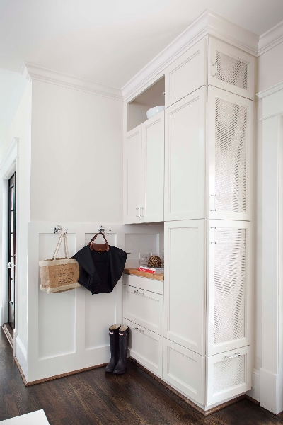Mudroom board and batten transitional laundry room for Board and batten kitchen cabinets