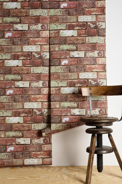 graham brown red brick wallpaper i urban outfitters. Black Bedroom Furniture Sets. Home Design Ideas