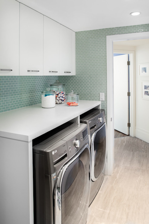 Green Glass Tiles Contemporary Laundry Room 2id