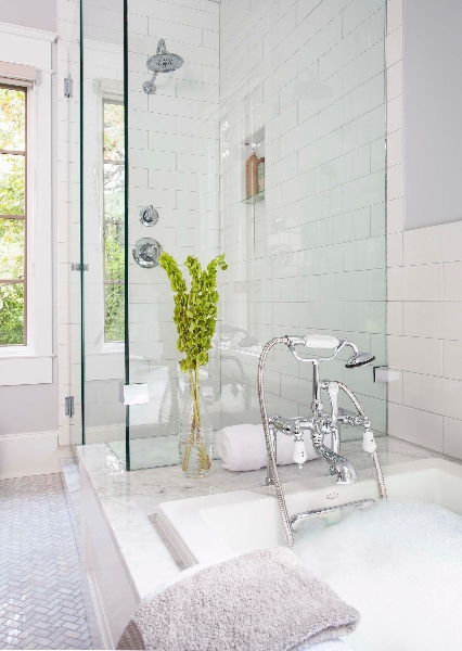 Bathtub attached to shower transitional bathroom for Attached bathroom design