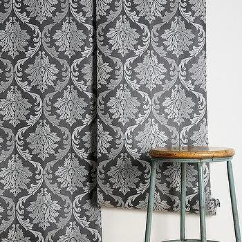 Wallpaper - Graham & Brown Splendor Wallpaper I Urban Outfitters - black and silver damask wallpaper, black and metallic silver damask wallpaper, black and silver scrolled-floral motif wallpaper,