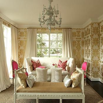 Metallic Damask Wallpaper, French, living room, Womanista