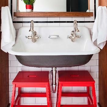 TerraCotta Properties - bathrooms - kids bath, kids bathroom, boys bath, boys bathroom, red step stools, step stools, bathroom step stools, brockway sink, his and her faucets, mirror with shelf, mirror and shelf, octagon tiles, white octagon tiles,