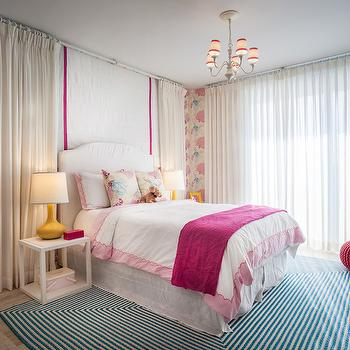 Drapes Behind Bed, Contemporary, girl's room, 2id Interiors