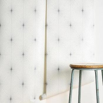 Wallpaper - Graham & Brown Dixie Wallpaper I Urban Outfitters - white and gray geometric wallpaper, geometric print wallpaper, white and blue gray geometric wallpaper,