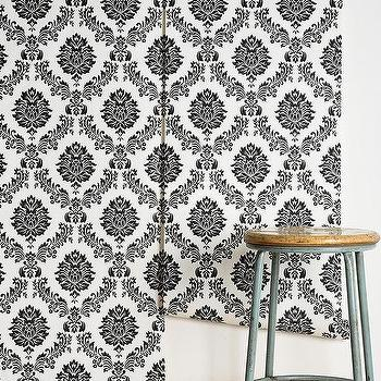 Wallpaper - Graham & Brown Costello Wallpaper I Urban Outfitters - damask wallpaper, black and white damask wallpaper, black and white scrolled-floral motif wallpaper,