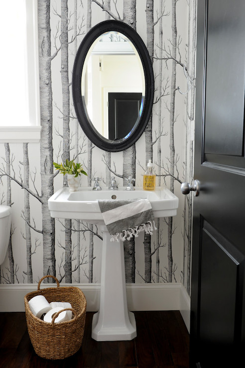 Black and white powder room contemporary bathroom for Black and white bathroom paper