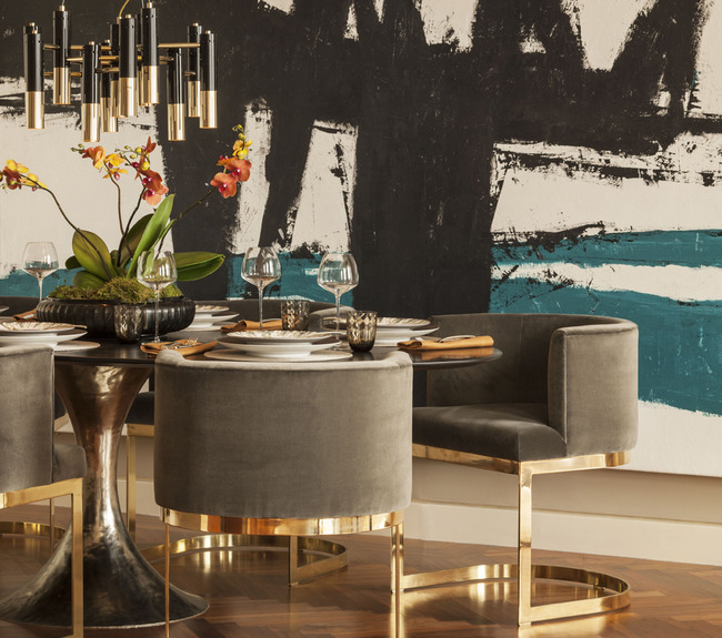 Gray dining chairs contemporary dining room intarya for Gold dining room ideas
