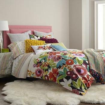 Bedding - Grandiflora Bedding I Horchow - multi-colored floral bedding, multi-colored modern floral bedding, multi-colored floral duvet,