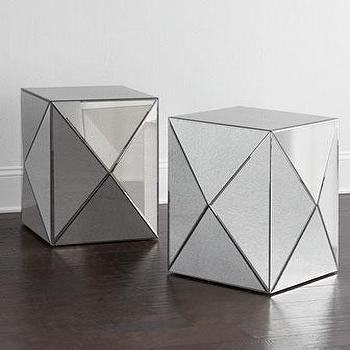 Tables - Geometric Side Table I Horchow - mirrored side table, geometric mirrored side table, modern mirrored side table, contemporary mirrored side table,