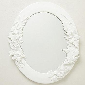 Mirrors - Frosted Forest Mirror I anthropologie.com - oval white mirror, oval white wall mirror,