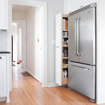 Pull Out Pantry Cabinet, Transitional, kitchen, Benjamin Moore Gray Owl, Rom Architecture Studio