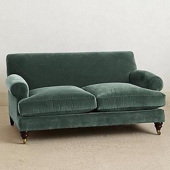 Seating - Willoughby Settee I anthropologie.com - duck egg blue sofa, duck egg blue settee, duck egg blue velvet sofa, duck egg blue velvet settee,