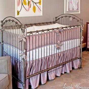 Little Crown Interiors - nurseries - purple gray walls, purple gray wall color, purple nursery, vintage style crib, antique style crib, gray glider, gray velvet glider, hardwood floors, purple checkerboard rug, checkerboard rug, contemporary white dresser with purple tufted doors, white dresser with purple tufted doors, lavender crib bedding, lavender nursery bedding, bird art, framed bird art, yellow pink and brown bird art, yellow pink and brown bird wall decor, lavender silk crib bedding, lavender silk nursery bedding, purple and gray nursery, purple and gray nursery, girl nursery, crib bedding, purple crib bedding, changing table, 2 tone changing table, checkered rug, purple and gray rug, purple checkered rug, gray checkered rug, Lavender Silk Crib Bedding Set,