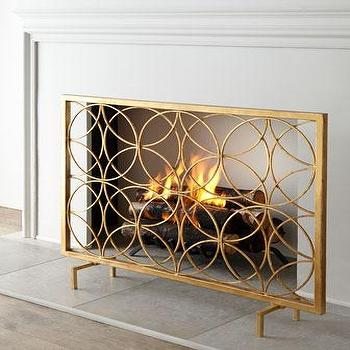 Decor/Accessories - Venn Circles Fireplace Screen I Horchow - contemporary gold fireplace screen, gold interlocking circles fireplace screen, antique gold modern fireplace screen,