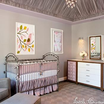 Little Crown Interiors - nurseries - gray walls, gray wall color, purple nursery, framed onesies, vintage style crib, antique style crib, gray glider, gray velvet glider, gray ottoman, hardwood floors, purple checkerboard rug, checkerboard rug, contemporary white dresser with purple tufted doors, white dresser with purple tufted doors, contemporary white framed wood mirror, crystal droplet wall sconce, lavender crib bedding, lavender nursery bedding, tray ceiling, ruched fabric ceiling, fabric covered tray ceiling, purple ruched fabric ceiling, bird art, framed bird art, yellow pink and brown bird art, yellow pink and brown bird wall decor, lavender silk crib bedding, lavender silk nursery bedding, purple and gray nursery, purple and gray nursery, girl nursery, crib bedding, purple crib bedding, changing table, 2 tone changing table, fabric ceiling, fabric lined ceiling, purple ceiling, checkered rug, purple and gray rug, purple checkered rug, gray checkered rug, Lavender Silk Crib Bedding Set,