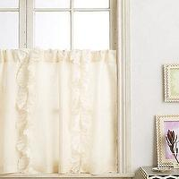 Window Treatments - Flutter Cafe Curtain I anthropologie.com - ivory cafe curtain, ivory ruffled cafe curtain, ruffle trimmed cafe curtain,