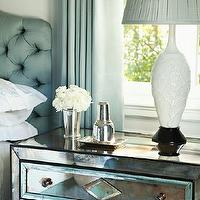 White Silk Headboard Transitional Bedroom