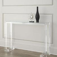 Tables - Clearview Console I Horchow - acrylic console table, acrylic and glass console table, contemporary acrylic and glass console table,