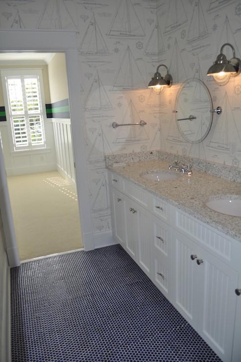 Navy Hex Tiles Cottage Bathroom Jacksonbuilt Custom