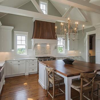 Dark Walnut Countertops, Transitional, kitchen, Benjamin Moore Horizon Gray, JacksonBuilt Custom Homes