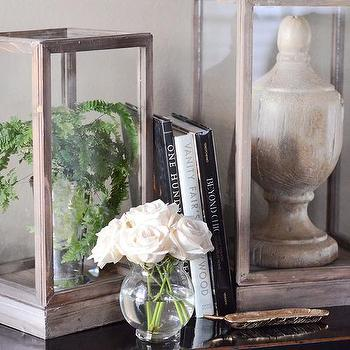 Decor/Accessories - Large Display Box I Feathered Home - wood framed glass box, wood framed glass display box, distressed wood framed glass display box,