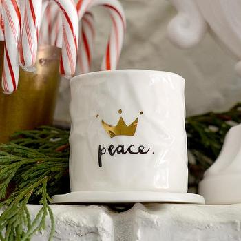 Decor/Accessories - Peace Votive I Feathered Home - peace candle votive, white and gold peace candle votive, gold crown peace votive holder,