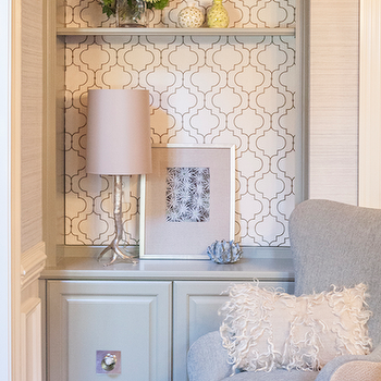 Wallpapered Bookcase, Contemporary, living room, Lucy and Company