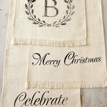 Miscellaneous - Personalized Table Runner I Garnet Hill - burlap table runner, burlap christmas table runner, personalized burlap table runner, merry christmas burlap table runner, celebrate burlap table runner,
