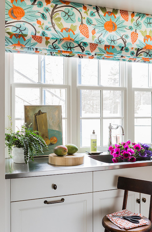 Modern floral roman shade contemporary kitchen katie for Kitchen roman blinds contemporary