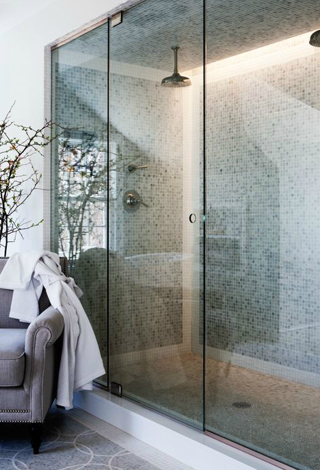 Double Shower Heads Transitional Bathroom Sage Design