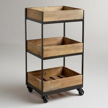 Storage Furniture - 3-Shelf Wooden Gavin Rolling Cart | World Market - rolling wooden cart, wood and iron rolling cart, rolling crate cart,